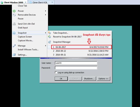Hướng dẫn sử dụng snapshot cơ bản trong VMware - Ảnh 4.