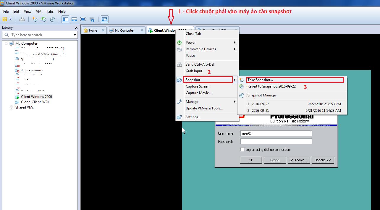 Hướng dẫn sử dụng snapshot cơ bản trong VMware - Ảnh 2.