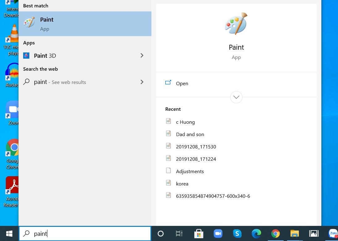 Tìm kiếm phần mềm Paint trong ô tìm kiếm của thanh công cụ.
