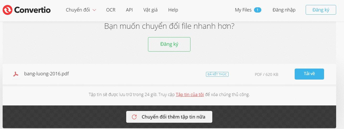 Cách chuyển file Excel sang PDF bằng Convertio