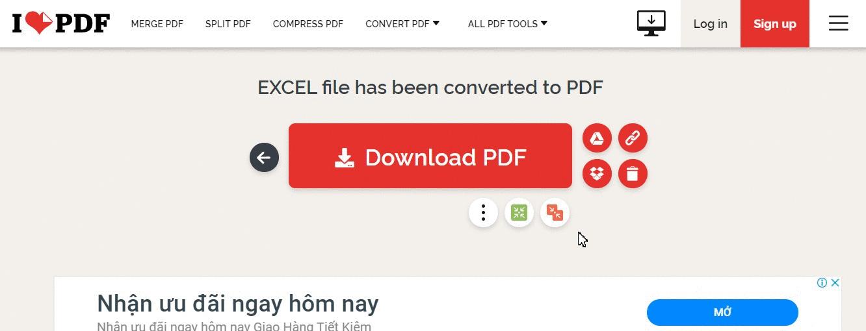 Chuyển file Excel sang PDF bằng Ilovepdf