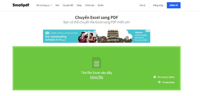 Chọn file Excel bạn cần chuyển sang PDF bằng Smallpdf