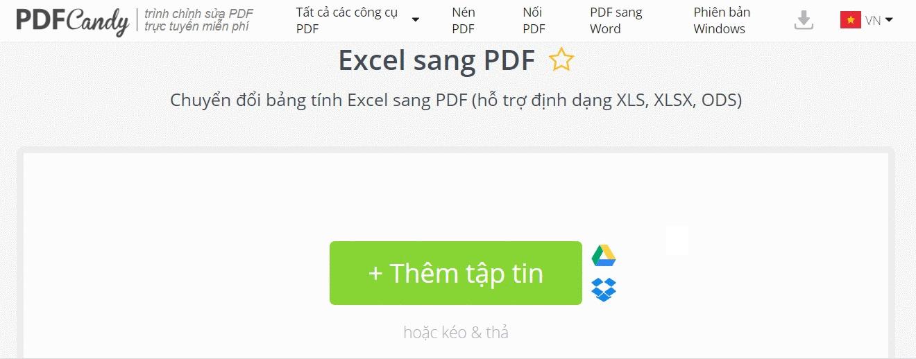 Chuyển file Excel sang PDF bằng PDF Candy