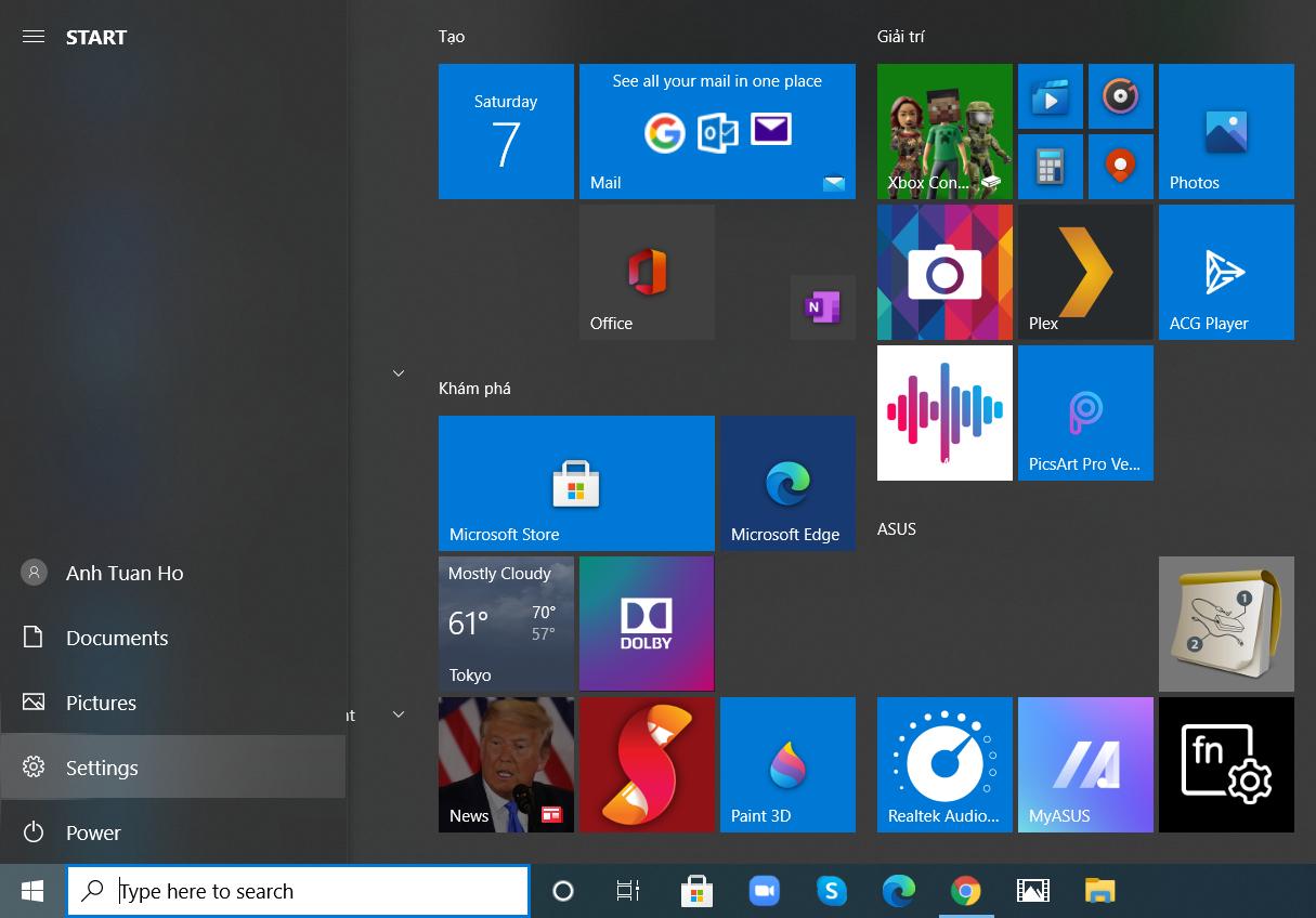 Chỉnh độ sáng màn hình hiển thị win 7, 10 trường đoản cú setup Settings
