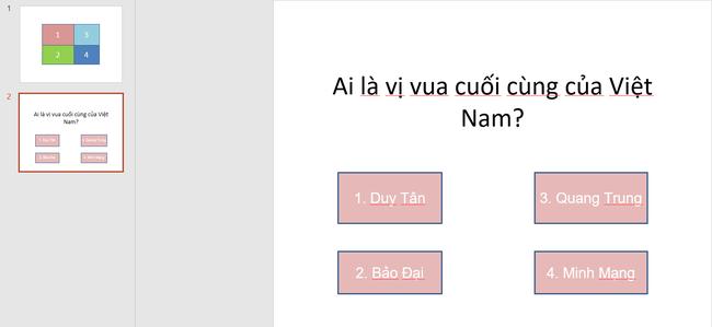 Hướng dẫn cách làm trò chơi trên PowerPoint cực đơn giản  - Ảnh 6.