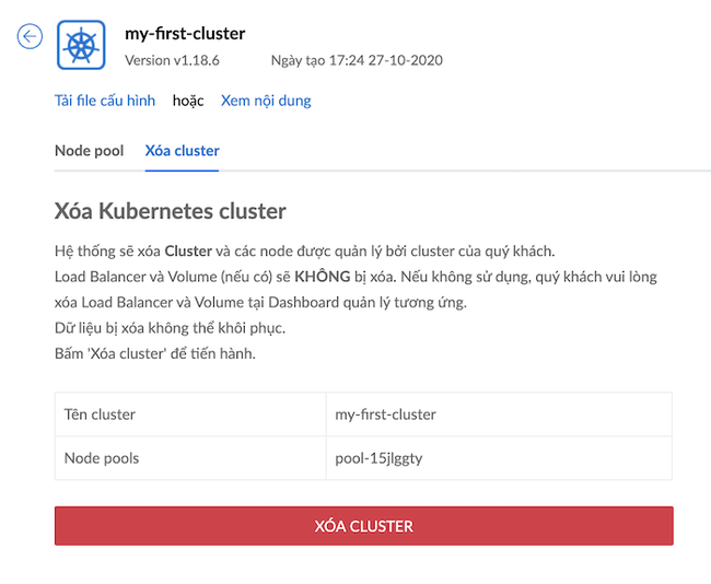 Tạo và xóa cluster trong Kubernetes ở Kubernetes Engine của BizFly Cloud - Ảnh 9.