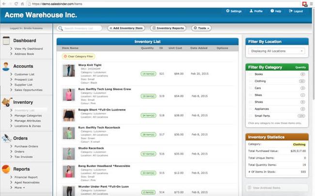 Phần mềm quản lý kho SalesBinder