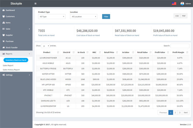 Phần mềm quản lý kho StockPile