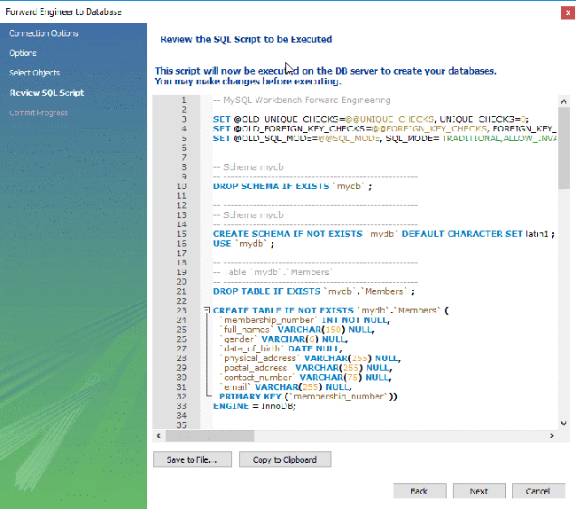 tạo database trong mysql