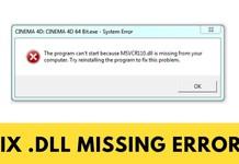 Hướng dẫn sửa lỗi missing .DLL file