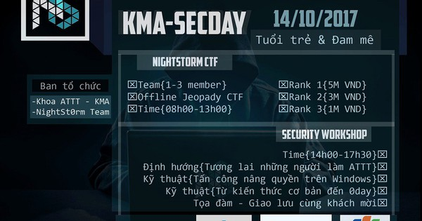 """Cuộc thi CTF """"NightSt0rm"""" và Workshop về An toàn thông tin tại Học viện kỹ thuật mật mã"""