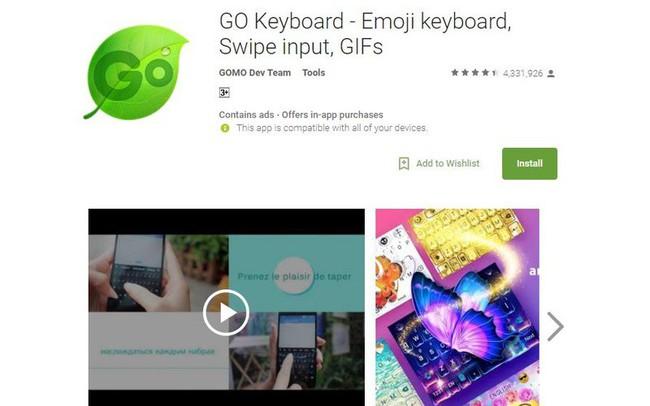Ứng dụng GO Keyboard thu thập dữ liệu của 200 triệu thiết bị Android